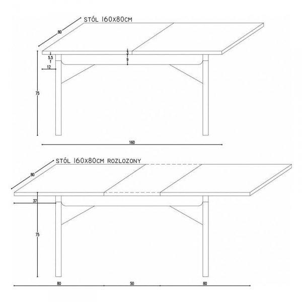 Rozkładany stół Minko Basic wymiary