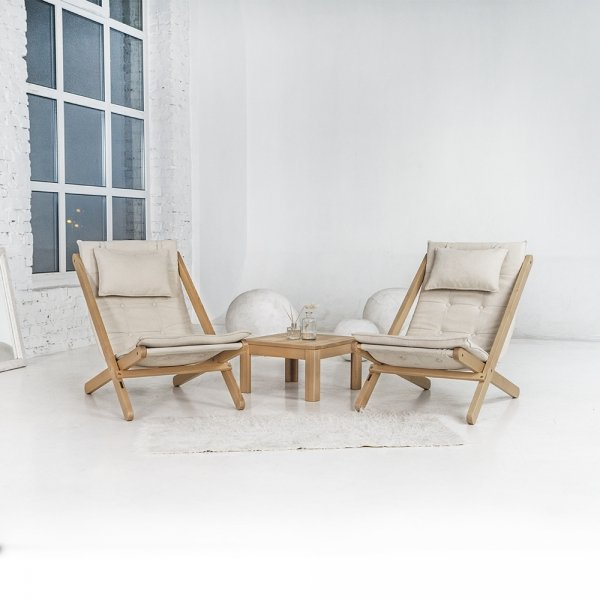 Allegro leżak z drewna naturalnego/kremowa poduszka Woodman
