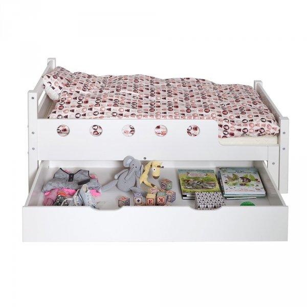 Stylowe łóżko dziecięće Flexa Junio White rośnie wraz z twoim dzieckiem