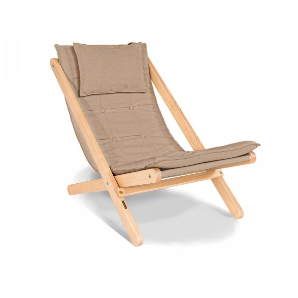 Allegro leżak z drewna naturalnego lakierowanego/beżowa poduszka Woodman