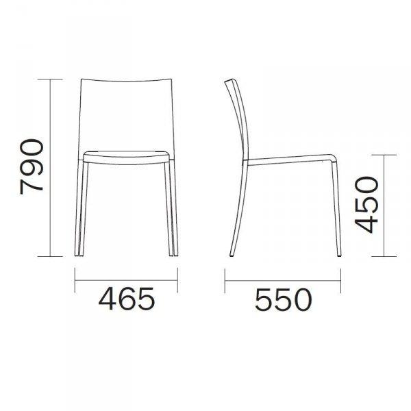 Maya 700 krzesło Pedrali wymiary