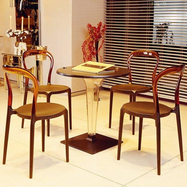 Krzesła są odporne na zarysowania oraz na promieniowanie UV.