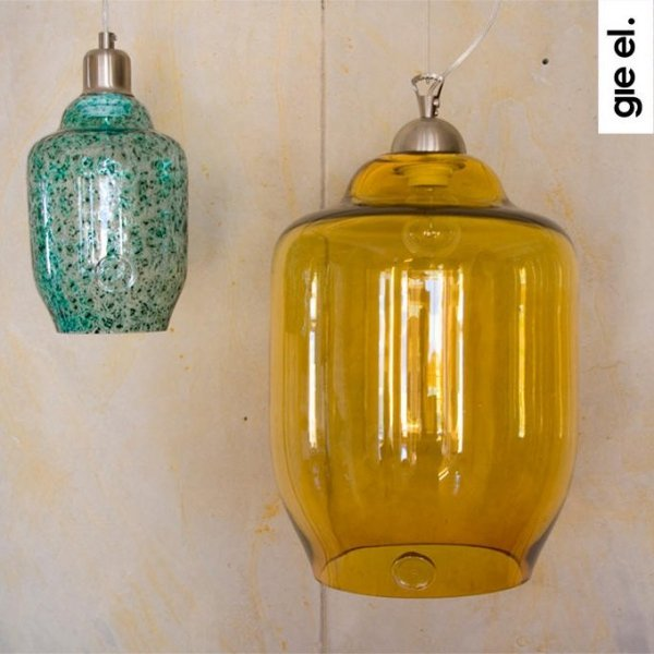 Turkusowa lampa wisząca szklana mała Gie El
