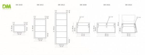 Donica kieszeniowa podwójna 83x44cm