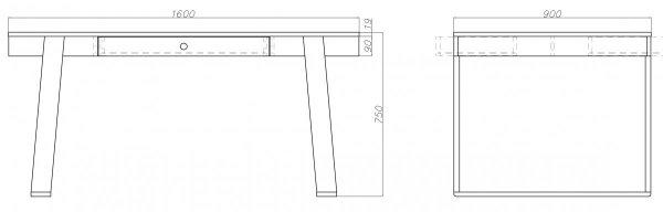 Stół Magh posiada 2 szuflady