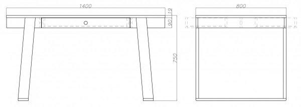 Wymiary stołu Magh Absynth przed rozłożeniem 75x80x140/220 cm