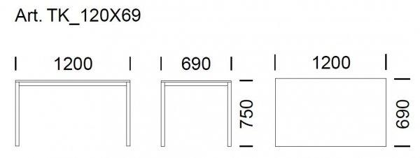 Stół Prostokątny Kuadro 1200x690 Pedrali