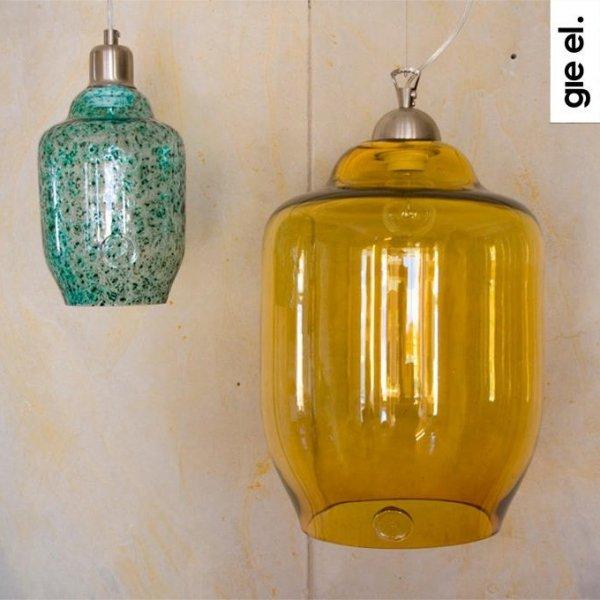 Miodowa lampa wisząca szklana duża Gie El