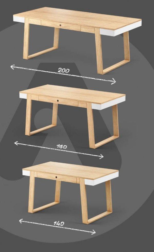Stół Magh Absynth oferujemy w trzech rozmiarach: 75x80x140; 75x90x160; 75x100x198 cm