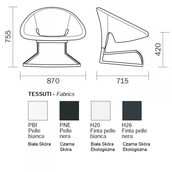 Designerski fotel Pedrali Joker 417 Pedrali wymiary