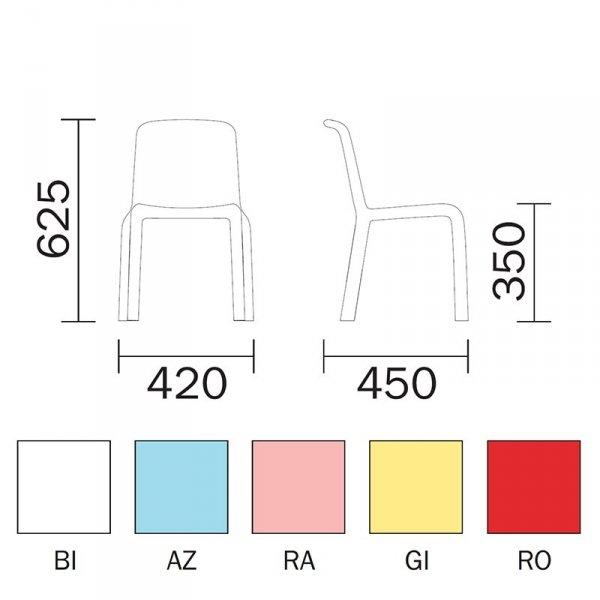 Krzesło Pedrali Snow 303 Junior wymiary i kolory