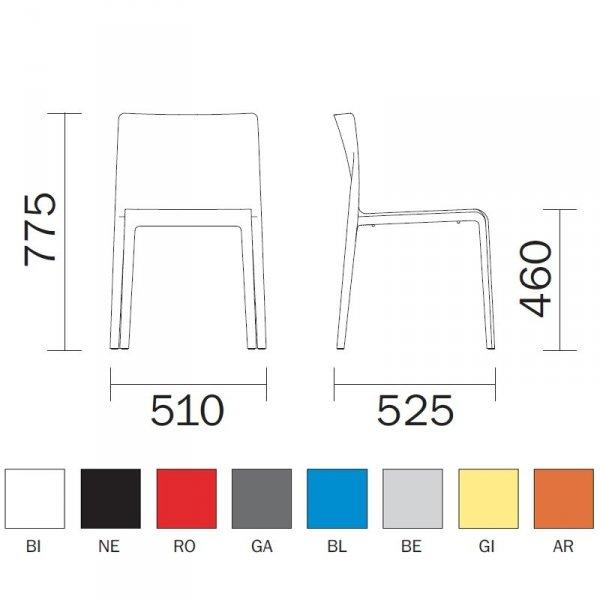 Pedrali Volt 670 wymiary i kolory