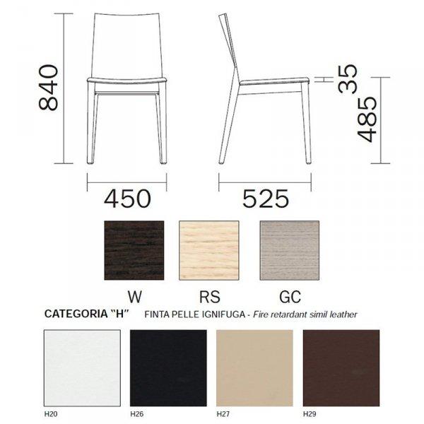 Krzesło Pedrali Young 420 wymiary