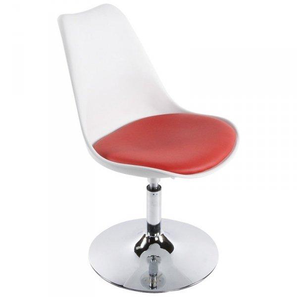Victoria stylowe krzesło obrotowe biało-czerwone