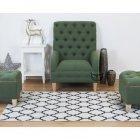 Zielony pikowany fotel Alberto II