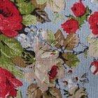 Tkanina len z bawełną róże na błękitnym tle SL 25 roses light blue