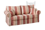 Czerwone, szerokie pasy sofa z funkcją spania Christine 188 cm