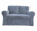 Srebrna sofa z lamówką z funkcją spania i zdejmowanym pokrowcem- Marie 146 cm