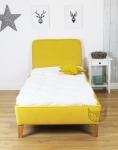 Żółte łóżko wezgłowie geometryczne wzory 90x200 Bergaya