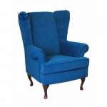 Niebieski fotel do czytania z wysokim oparciem Cottage