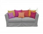 Sofa z kolorowymi poduchami funkcja spania Vivienne 190 cm