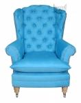 Turkusowy pikowany fotel z wysokim oparciem Fotel Królewski