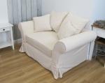 Kremowa kanapa z pokrowcem Federica nierozkładana 150 cm