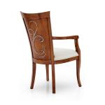 Klasyczne krzesło z podłokietnikami i zdobionym oparciem Feel