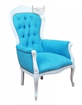 Włoski pikowany fotel turkusowa tkanina Foglia