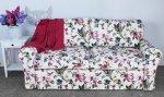 Sofa w kwiaty i ptaki z funkcją spania Marie 186 cm