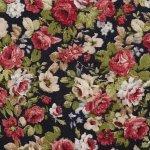 Tkanina len z bawełną róże na granatowym tle