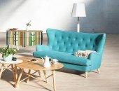 Prosta i przytulna turkusowa sofa Assenzio