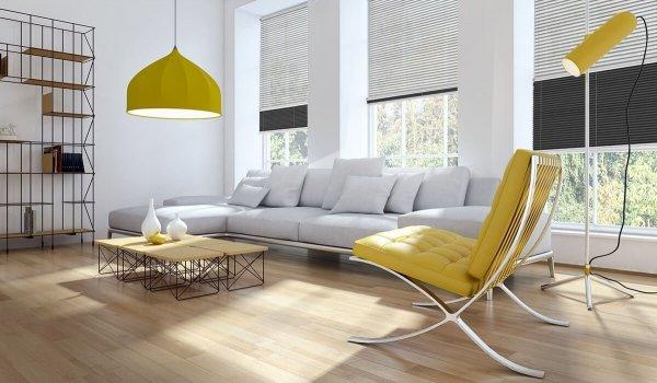 Salon z roletami plisowanymi na wymiar