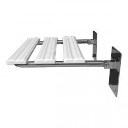Duschklappsitz aus Edelstahl für barrierefreies Bad mit Sitzfläche ist aus Kunststoffpaneelen