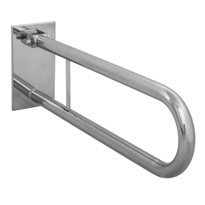Klappgriff am WC oder Waschbecken für barrierefreies Bad aus rostfreiem Edelstahl 60 cm ⌀ 32 mit Abdeckplatten