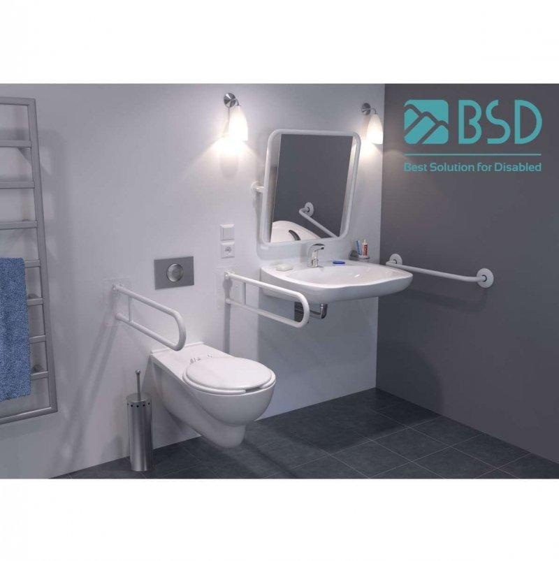 WC - Stützgriff für barrierefreies Bad zur Bodenmontage rechts 80 cm hoch weiß ⌀ 32 mm mit Abdeckrosetten