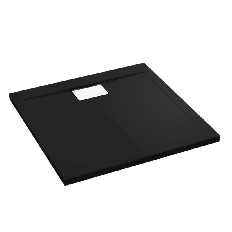 Schwarze Duschwanne für barrierefreies Bad 120 x 90 cm