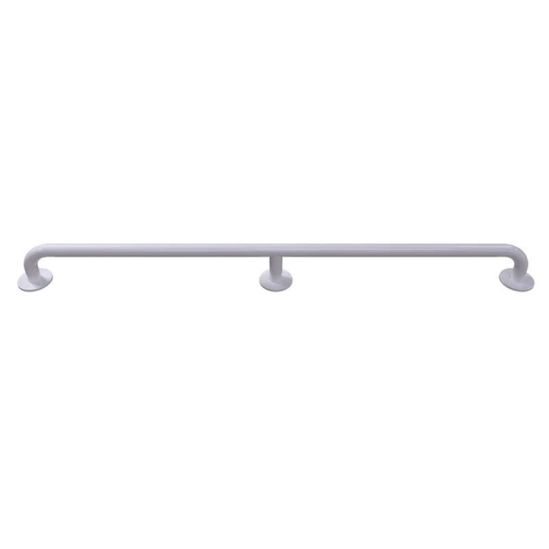 Handlauf für barrierefreies Bad 110 cm weiß ⌀ 32 mm mit Abdeckrosetten