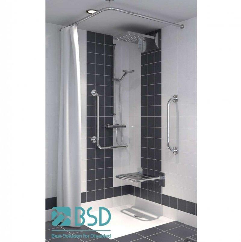 Verstellbare winkelförmige Duschvorhangstange aus Edelstahl 90 x 90 cm