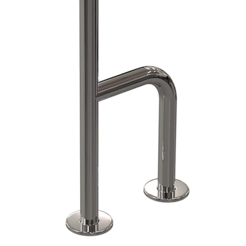 WC - Stützgriff für barrierefreies Bad zur Wand-Boden-Montage links aus rostfreiem Edelstahl ⌀ 32 mit Abdeckrosetten