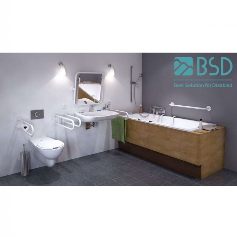 Duschhandlauf Winkelgriff für barrierefreies Bad 60/60 cm weiß ⌀ 32 mm