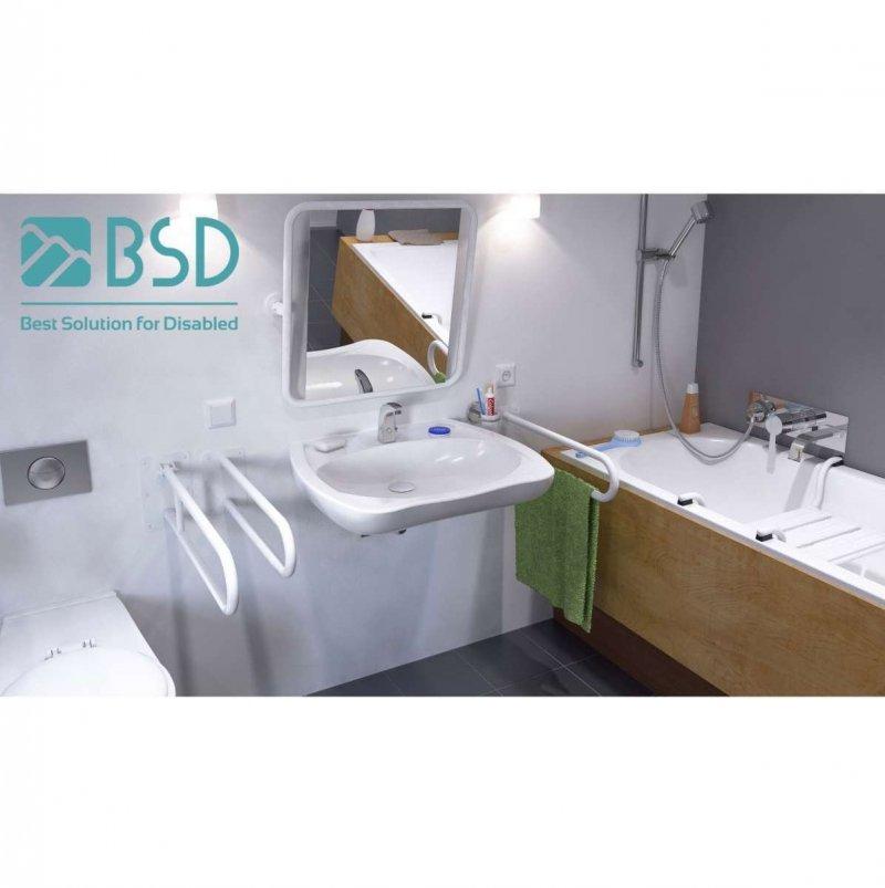 WC-Stützgriff für barrierefreies Bad zur Bodenmontage links 80 cm hoch weiß ⌀ 25 mm