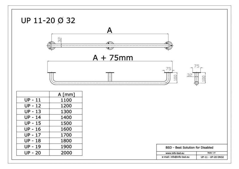 Handlauf für barrierefreies Bad 200 cm aus rostfreiem Edelstahl ⌀ 32 mm mit Abdeckrosetten