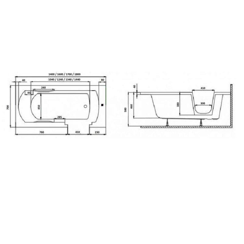 Frontpaneel für VOVO Badewanne 140 cm schwarz