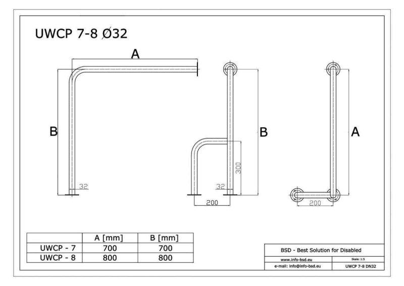 WC - Stützgrif für barrierefreies Bad f zur Wand-Boden-Montage rechts aus rostfreiem Edelstahl  80 x 80 cm ⌀ 32 mm