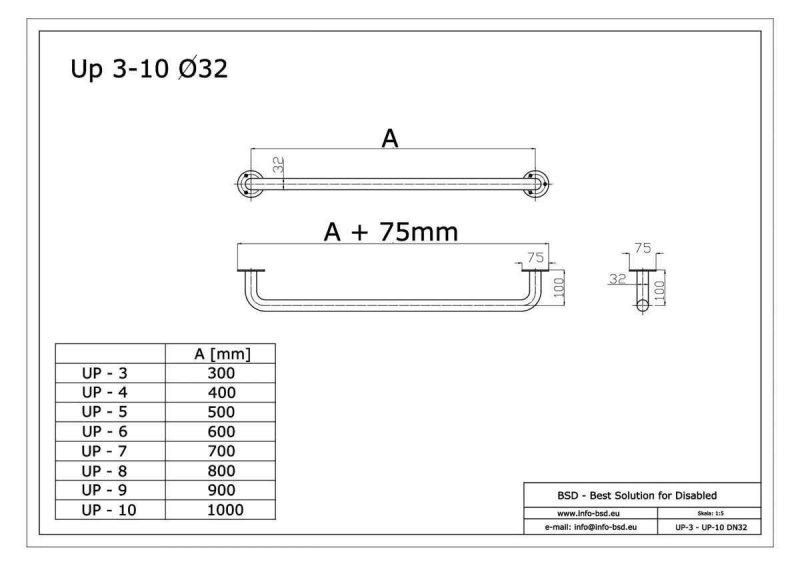 Haltegriff für barrierefreies Bad 90 cm weiß ⌀ 32 mm mit Abdeckrosetten