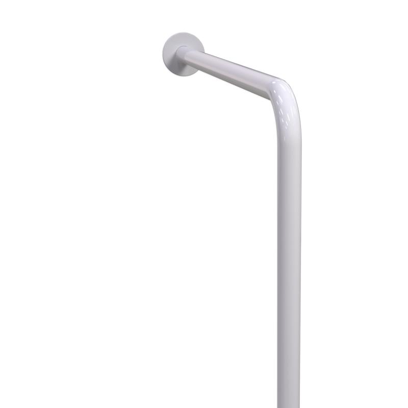 WC-Stützgriff für barrierefreies Bad links montierbar weiß 70 cm ⌀ 32 mm mit AbdeckrosettenWC-Stützgriff für barrierefreies Bad links montierbar weiß 70 cm ⌀ 32 mm mit Abdeckrosetten