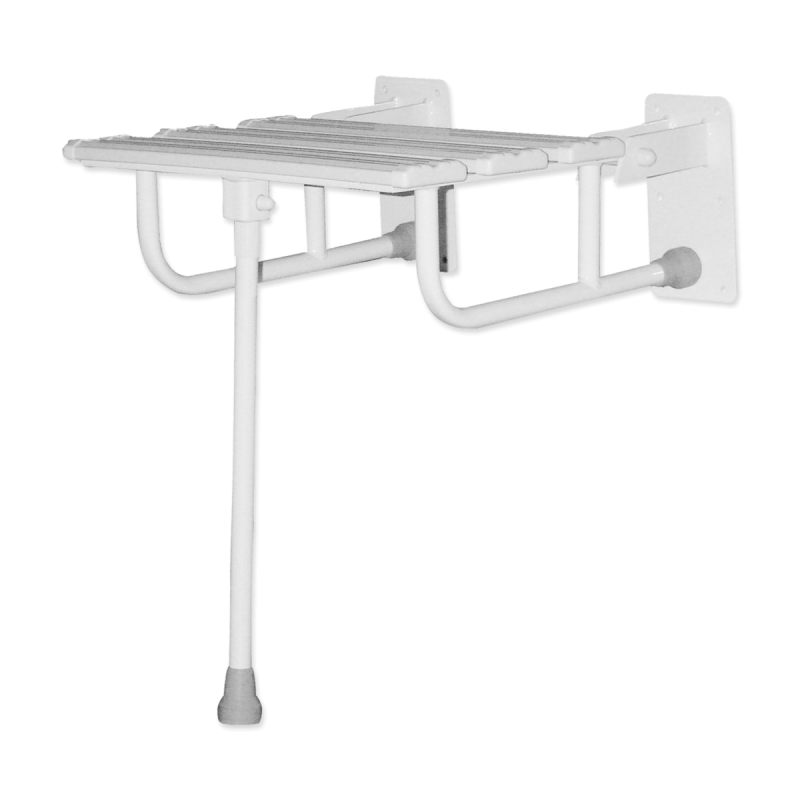 Duschklappsitz mit Wandstützen und Stützbein für barrierefreies BadDuschklappsitz mit Wandstützen und Stützbein für barrierefreies Bad