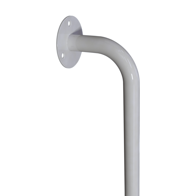 Winkelgriff 80/40 cm für barrierefreies Bad links montierbar weiß ⌀ 25 mm