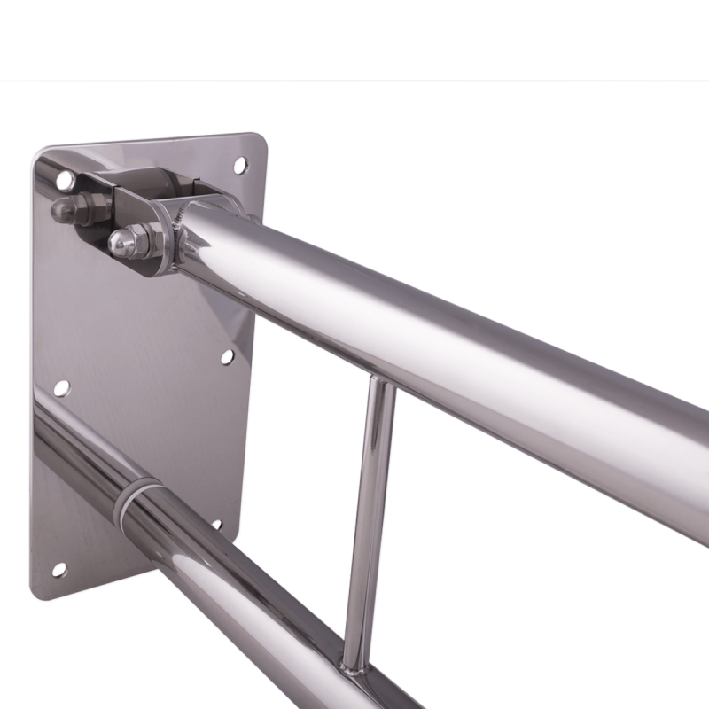 WC - Klappgriff für barrierefreies Bad mit Stützbein 85 cm aus rostfreiem Edelstahl ⌀ 32 mm